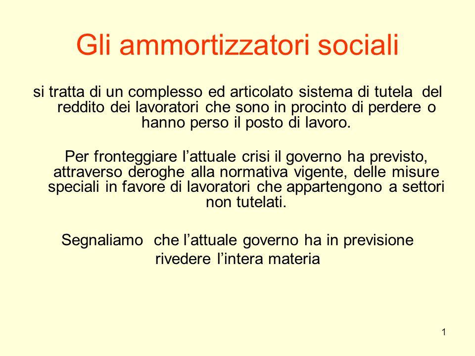 1 Gli ammortizzatori sociali si tratta di un complesso ed articolato sistema di tutela del reddito dei lavoratori che sono in procinto di perdere o ha