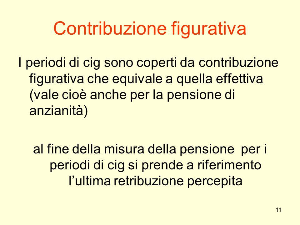 11 Contribuzione figurativa I periodi di cig sono coperti da contribuzione figurativa che equivale a quella effettiva (vale cioè anche per la pensione