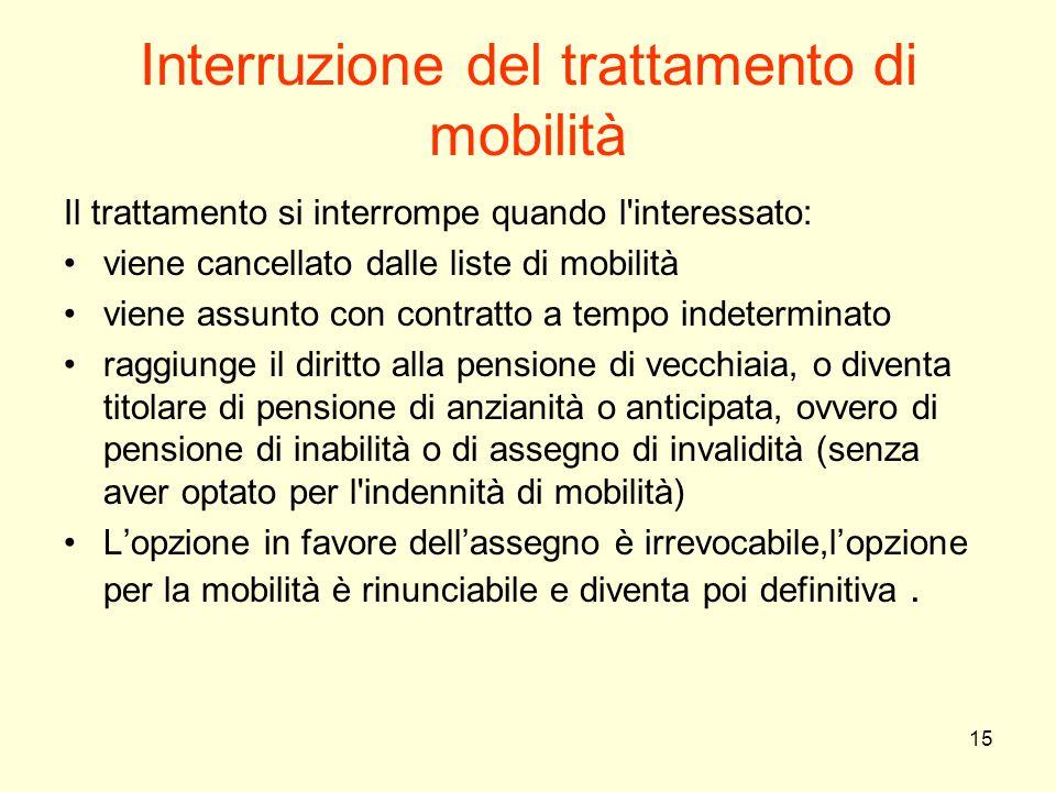 15 Interruzione del trattamento di mobilità Il trattamento si interrompe quando l'interessato: viene cancellato dalle liste di mobilità viene assunto