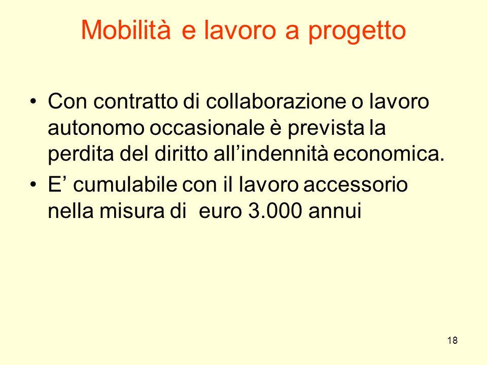 18 Mobilità e lavoro a progetto Con contratto di collaborazione o lavoro autonomo occasionale è prevista la perdita del diritto all'indennità economic