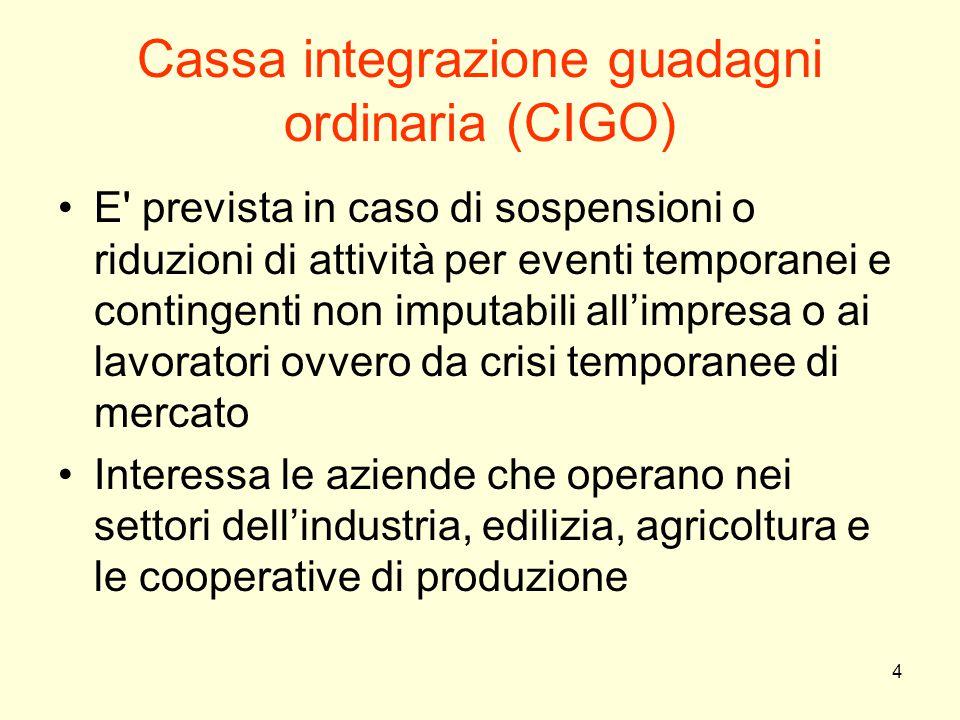 4 Cassa integrazione guadagni ordinaria (CIGO) E' prevista in caso di sospensioni o riduzioni di attività per eventi temporanei e contingenti non impu