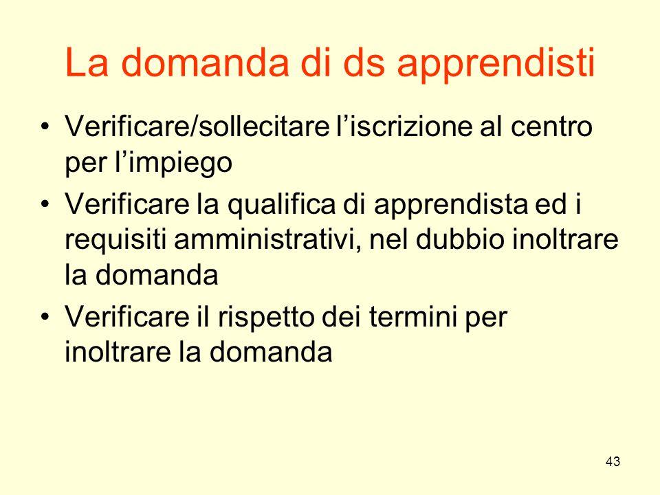 43 La domanda di ds apprendisti Verificare/sollecitare l'iscrizione al centro per l'impiego Verificare la qualifica di apprendista ed i requisiti ammi