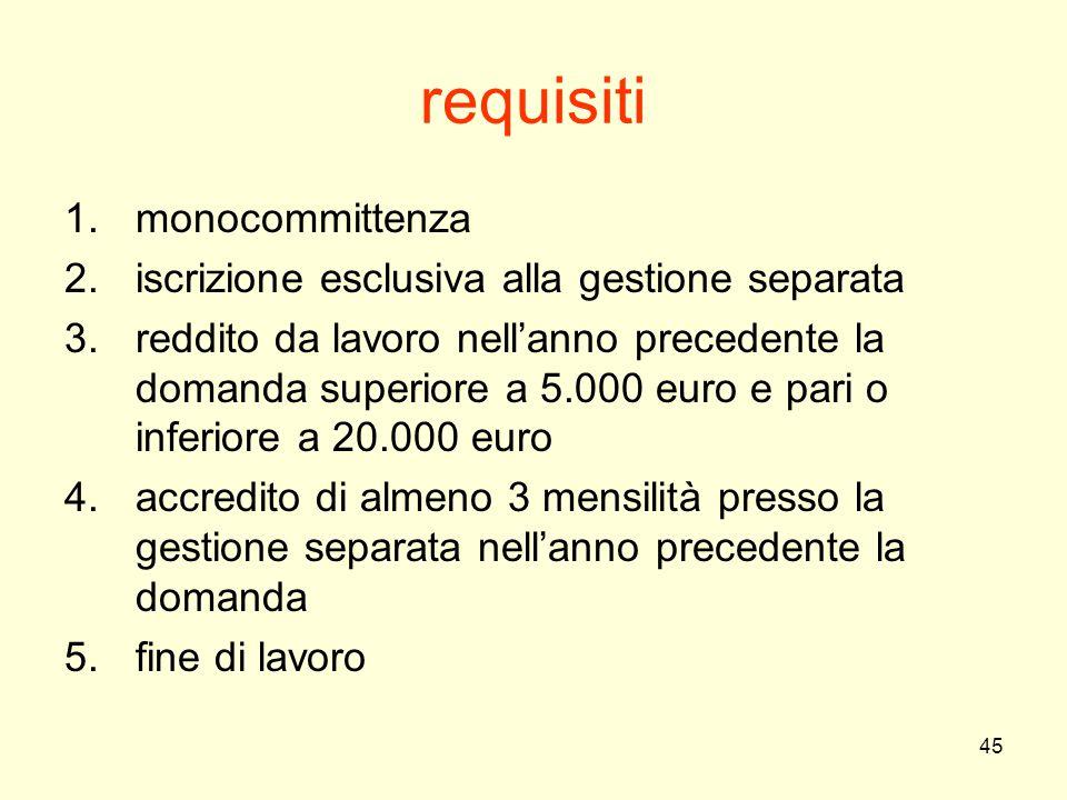 45 requisiti 1.monocommittenza 2.iscrizione esclusiva alla gestione separata 3.reddito da lavoro nell'anno precedente la domanda superiore a 5.000 eur