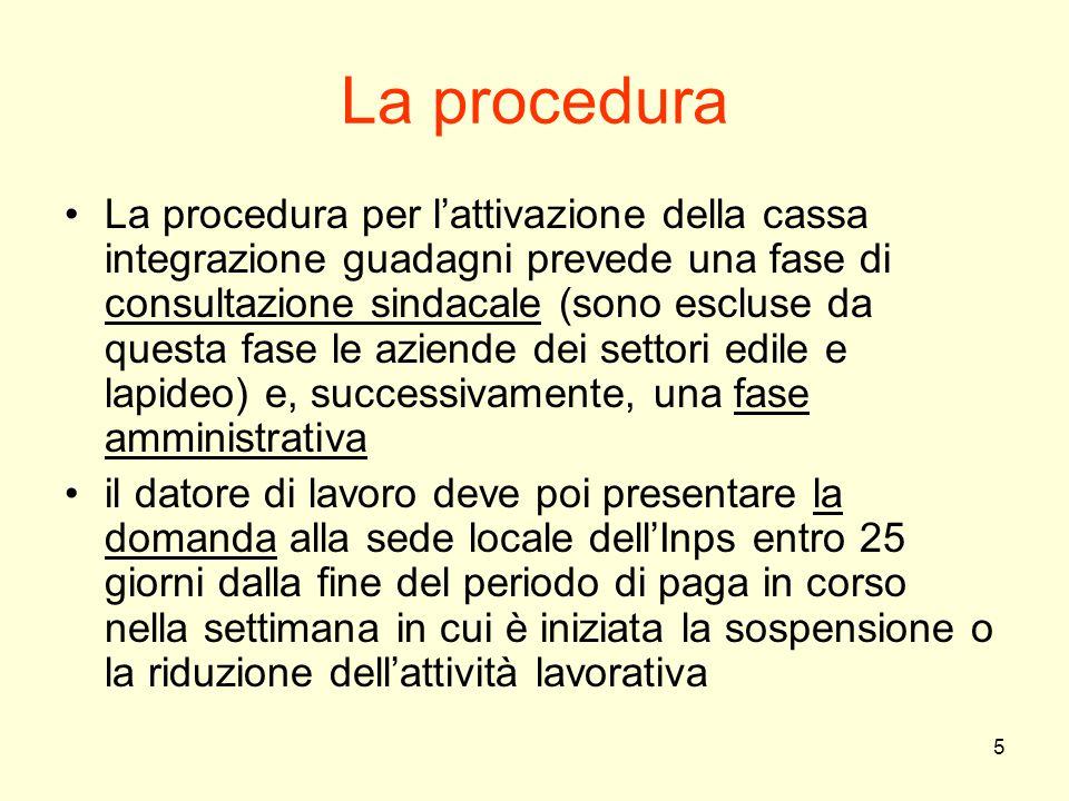 5 La procedura La procedura per l'attivazione della cassa integrazione guadagni prevede una fase di consultazione sindacale (sono escluse da questa fa