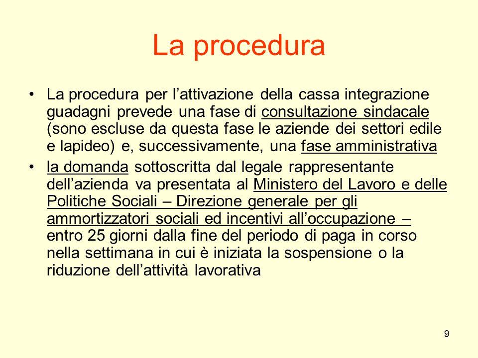 9 La procedura La procedura per l'attivazione della cassa integrazione guadagni prevede una fase di consultazione sindacale (sono escluse da questa fa