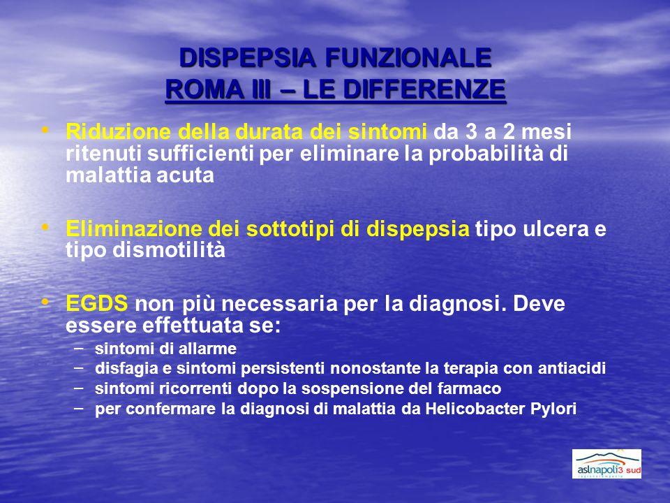 DISPEPSIA FUNZIONALE ROMA III – LE DIFFERENZE Riduzione della durata dei sintomi da 3 a 2 mesi ritenuti sufficienti per eliminare la probabilità di ma