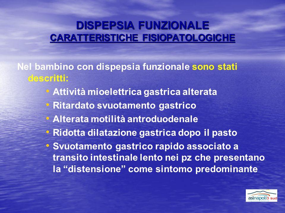 DISPEPSIA FUNZIONALE CARATTERISTICHE FISIOPATOLOGICHE Nel bambino con dispepsia funzionale sono stati descritti: Attività mioelettrica gastrica altera