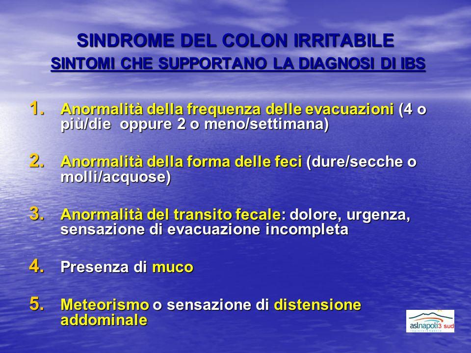 SINDROME DEL COLON IRRITABILE SINTOMI CHE SUPPORTANO LA DIAGNOSI DI IBS 1. Anormalità della frequenza delle evacuazioni (4 o più/die oppure 2 o meno/s