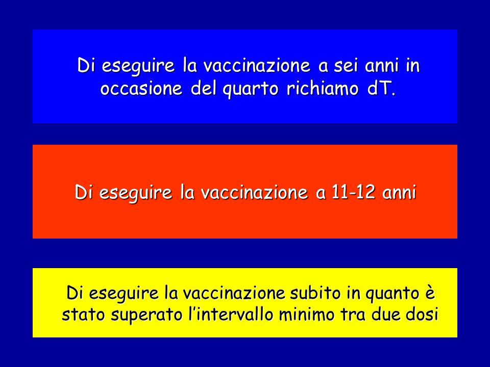 Di eseguire la vaccinazione subito in quanto è stato superato l'intervallo minimo tra due dosi Di eseguire la vaccinazione a 11-12 anni Di eseguire la vaccinazione a sei anni in occasione del quarto richiamo dT.