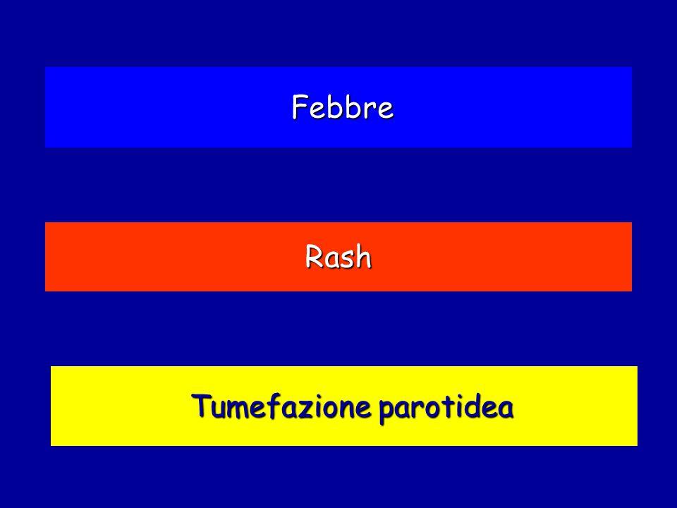 Tumefazione parotidea Rash Febbre
