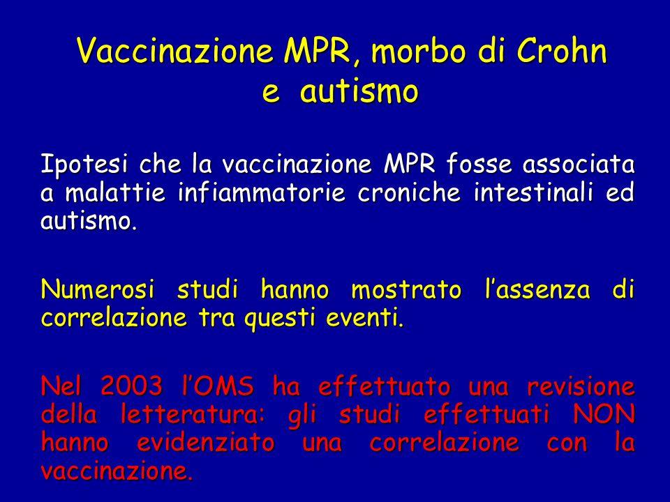 Vaccinazione MPR, morbo di Crohn e autismo Ipotesi che la vaccinazione MPR fosse associata a malattie infiammatorie croniche intestinali ed autismo. N