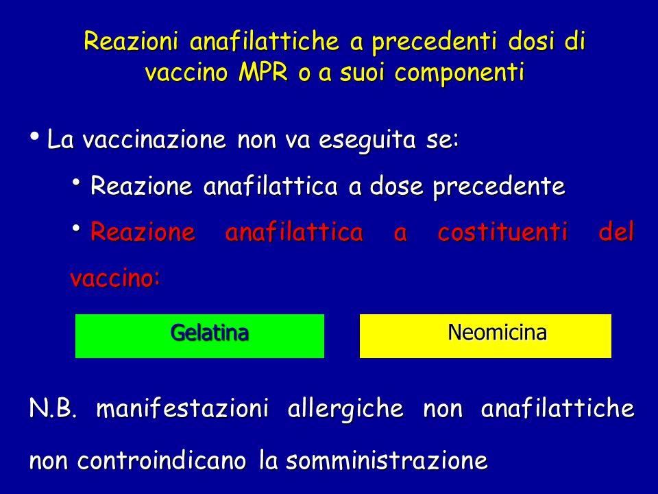 Reazioni anafilattiche a precedenti dosi di vaccino MPR o a suoi componenti La vaccinazione non va eseguita se: Reazione anafilattica a dose precedente Reazione anafilattica a dose precedente Reazione anafilattica a costituenti del vaccino: Reazione anafilattica a costituenti del vaccino: N.B.