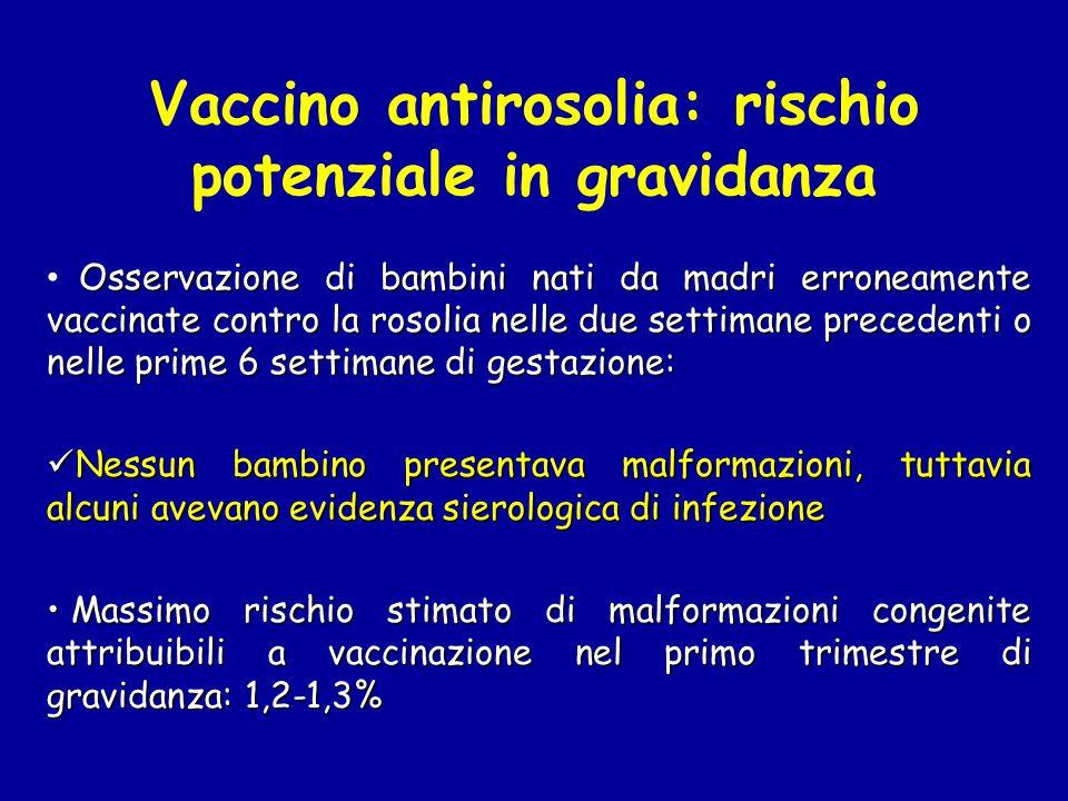 Vaccino antirosolia: rischio potenziale in gravidanza Osservazione di bambini nati da madri erroneamente vaccinate contro la rosolia nelle due settima