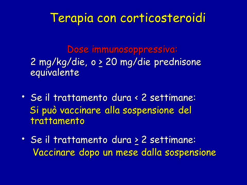 Terapia con corticosteroidi Dose immunosoppressiva: Dose immunosoppressiva: 2 mg/kg/die, o > 20 mg/die prednisone equivalente Se il trattamento dura < 2 settimane: Se il trattamento dura < 2 settimane: Si può vaccinare alla sospensione del trattamento Si può vaccinare alla sospensione del trattamento Se il trattamento dura > 2 settimane: Se il trattamento dura > 2 settimane: Vaccinare dopo un mese dalla sospensione Vaccinare dopo un mese dalla sospensione