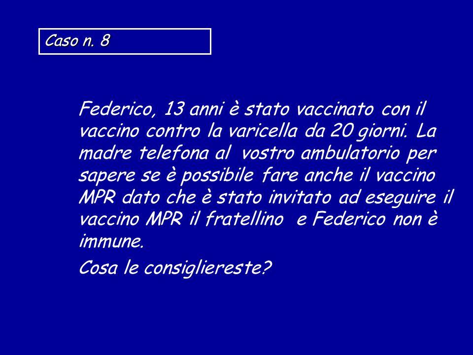 Federico, 13 anni è stato vaccinato con il vaccino contro la varicella da 20 giorni. La madre telefona al vostro ambulatorio per sapere se è possibile