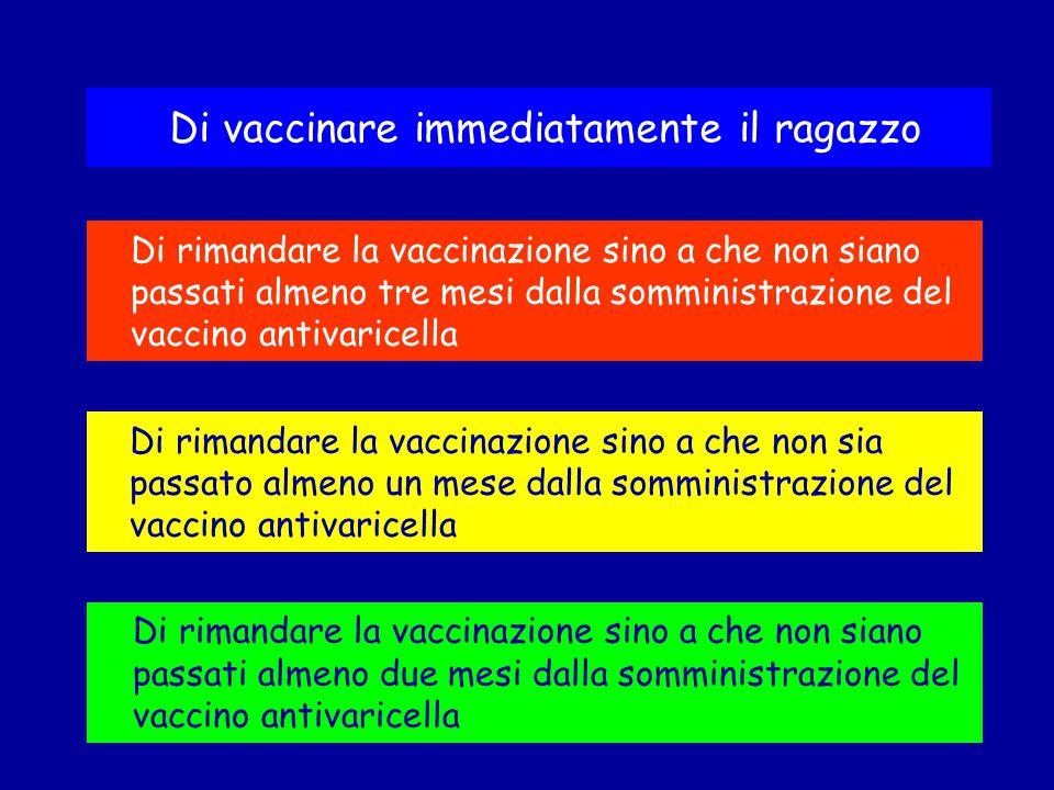 Di rimandare la vaccinazione sino a che non siano passati almeno due mesi dalla somministrazione del vaccino antivaricella Di vaccinare immediatamente