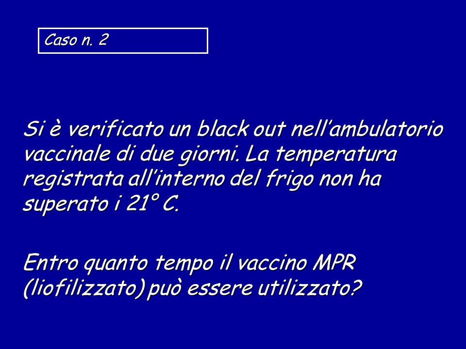 Si è verificato un black out nell'ambulatorio vaccinale di due giorni. La temperatura registrata all'interno del frigo non ha superato i 21° C. Entro