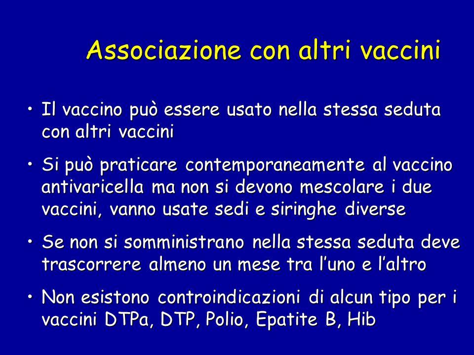 Associazione con altri vaccini Il vaccino può essere usato nella stessa seduta con altri vacciniIl vaccino può essere usato nella stessa seduta con al
