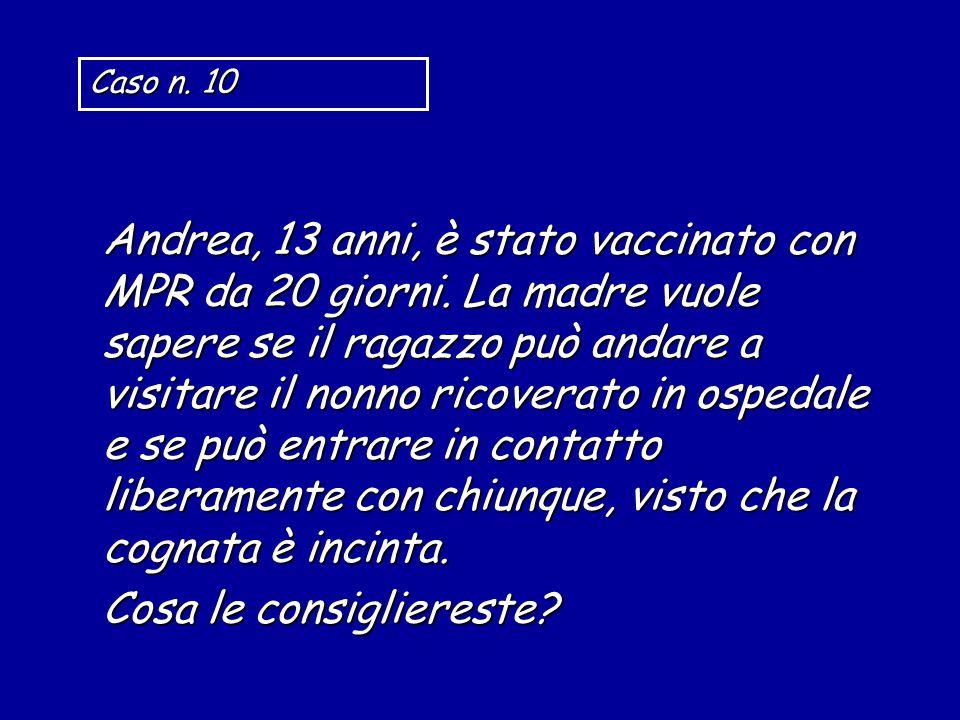 Andrea, 13 anni, è stato vaccinato con MPR da 20 giorni. La madre vuole sapere se il ragazzo può andare a visitare il nonno ricoverato in ospedale e s