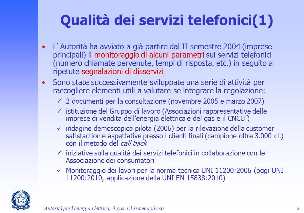 L' Autorità ha avviato a già partire dal II semestre 2004 (imprese principali) il monitoraggio di alcuni parametri sui servizi telefonici (numero chia