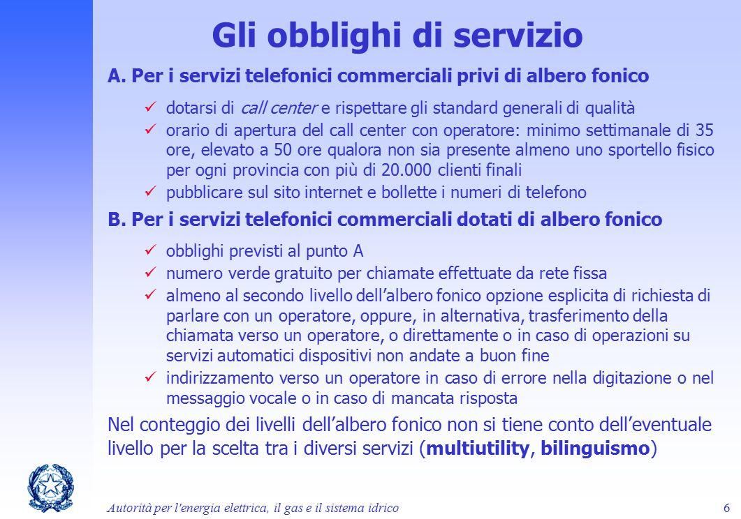 Gli obblighi di servizio A. Per i servizi telefonici commerciali privi di albero fonico dotarsi di call center e rispettare gli standard generali di q