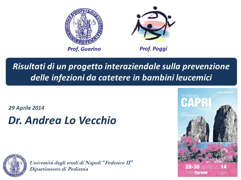Prof. Guarino Prof. Poggi Dr. Andrea Lo Vecchio 29 Aprile 2014 Risultati di un progetto interaziendale sulla prevenzione delle infezioni da catetere i