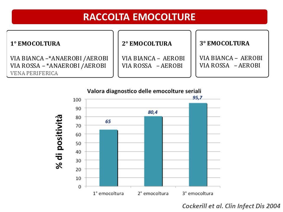 VENA PERIFERICA RACCOLTA EMOCOLTURE Cockerill et al. Clin Infect Dis 2004 % di positività