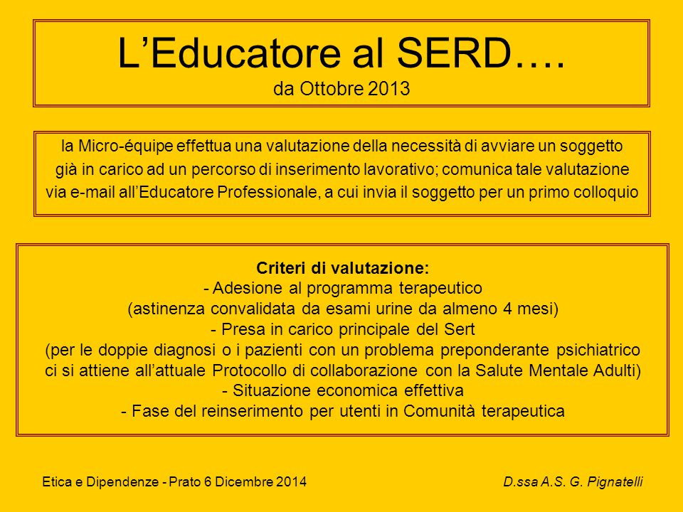 L'Educatore al SERD….