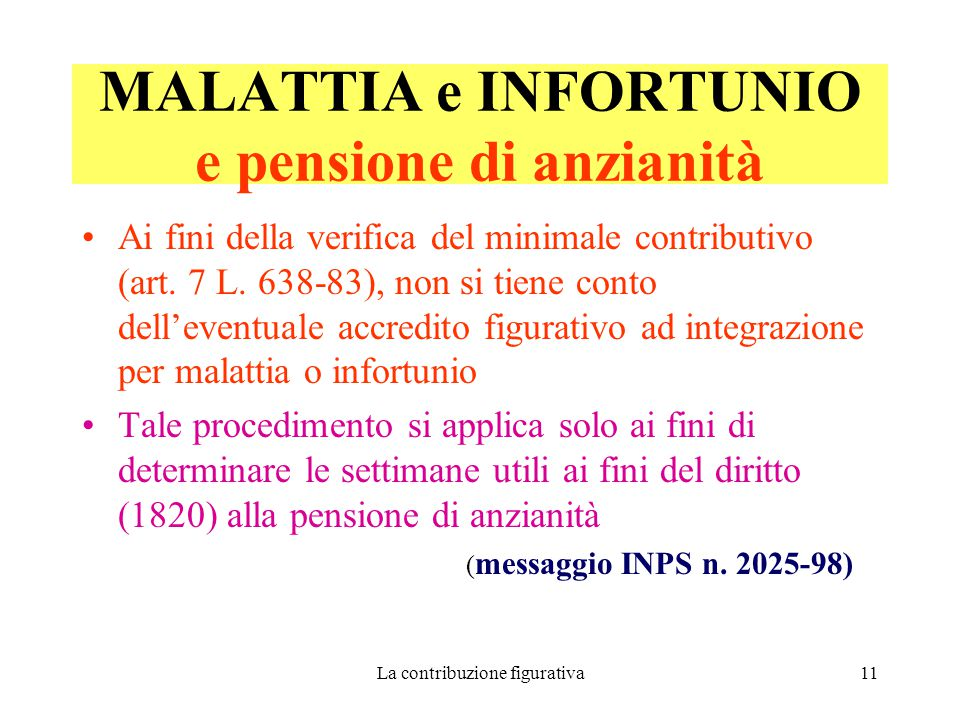La contribuzione figurativa11 MALATTIA e INFORTUNIO e pensione di anzianità Ai fini della verifica del minimale contributivo (art.