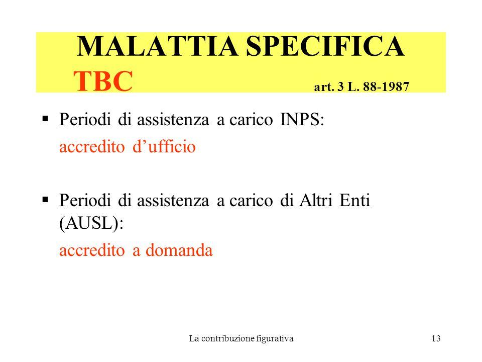 La contribuzione figurativa13 MALATTIA SPECIFICA TBC art.