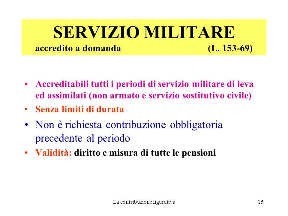 La contribuzione figurativa15 SERVIZIO MILITARE accredito a domanda (L.