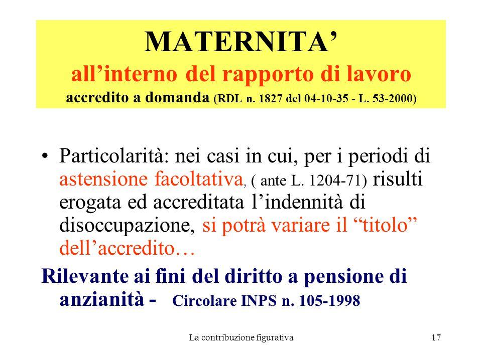 La contribuzione figurativa17 MATERNITA' all'interno del rapporto di lavoro accredito a domanda (RDL n.