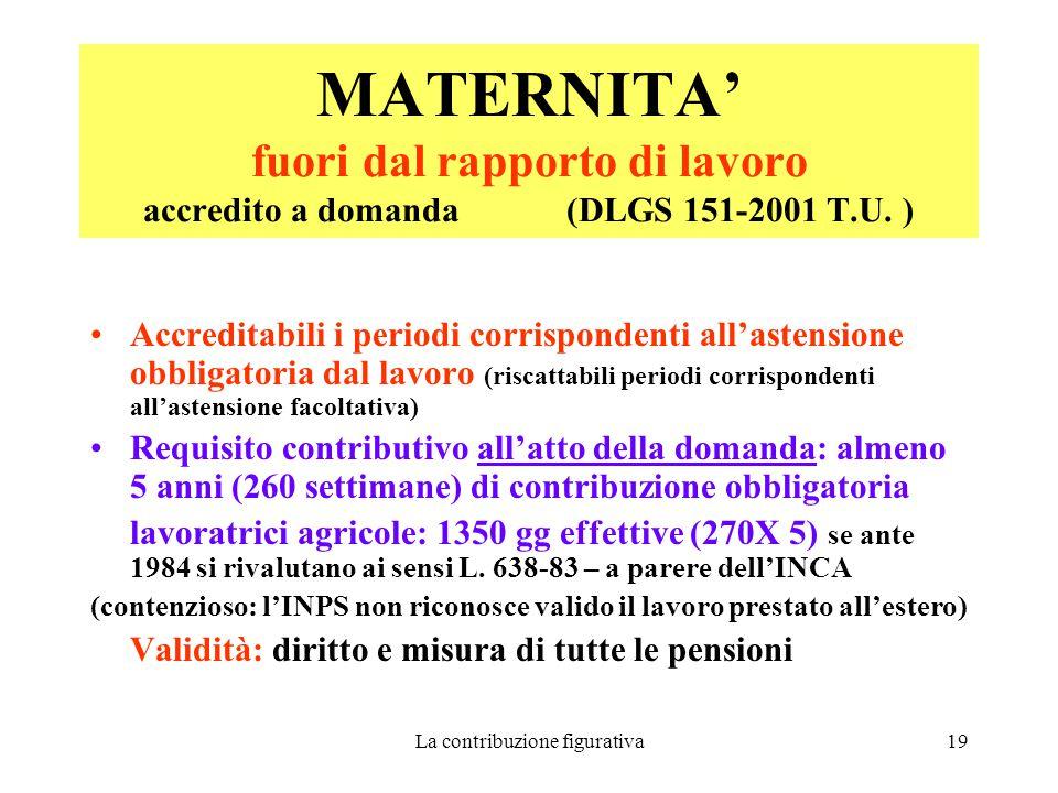 La contribuzione figurativa19 MATERNITA' fuori dal rapporto di lavoro accredito a domanda (DLGS 151-2001 T.U.