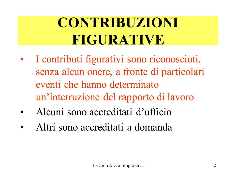 La contribuzione figurativa3 Si distinguono in contribuzione :  a copertura  a integrazione di una contribuzione ridotta già esistente CONTRIBUZIONI FIGURATIVE