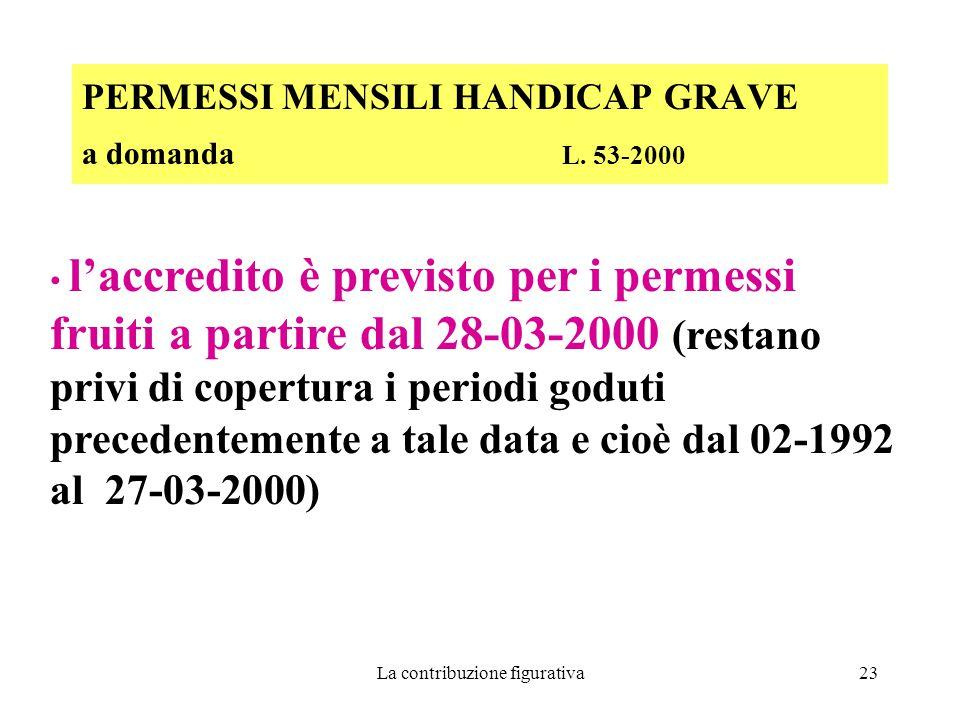 La contribuzione figurativa23 PERMESSI MENSILI HANDICAP GRAVE a domanda L.