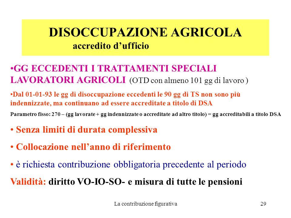 La contribuzione figurativa29 DISOCCUPAZIONE AGRICOLA accredito d'ufficio GG ECCEDENTI I TRATTAMENTI SPECIALI LAVORATORI AGRICOLI (OTD con almeno 101 gg di lavoro ) Dal 01-01-93 le gg di disoccupazione eccedenti le 90 gg di TS non sono più indennizzate, ma continuano ad essere accreditate a titolo di DSA Parametro fisso: 270 – (gg lavorate + gg indennizzate o accreditate ad altro titolo) = gg accreditabili a titolo DSA Senza limiti di durata complessiva Collocazione nell'anno di riferimento è richiesta contribuzione obbligatoria precedente al periodo Validità: diritto VO-IO-SO- e misura di tutte le pensioni
