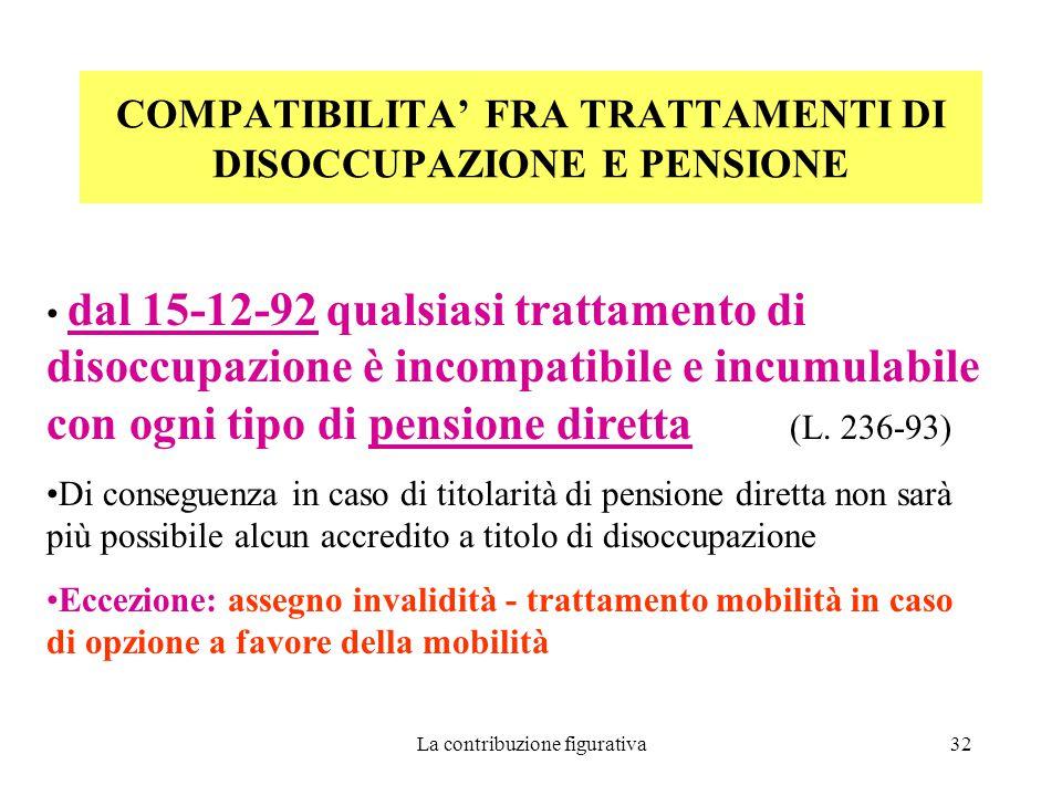 La contribuzione figurativa32 COMPATIBILITA' FRA TRATTAMENTI DI DISOCCUPAZIONE E PENSIONE dal 15-12-92 qualsiasi trattamento di disoccupazione è incompatibile e incumulabile con ogni tipo di pensione diretta (L.