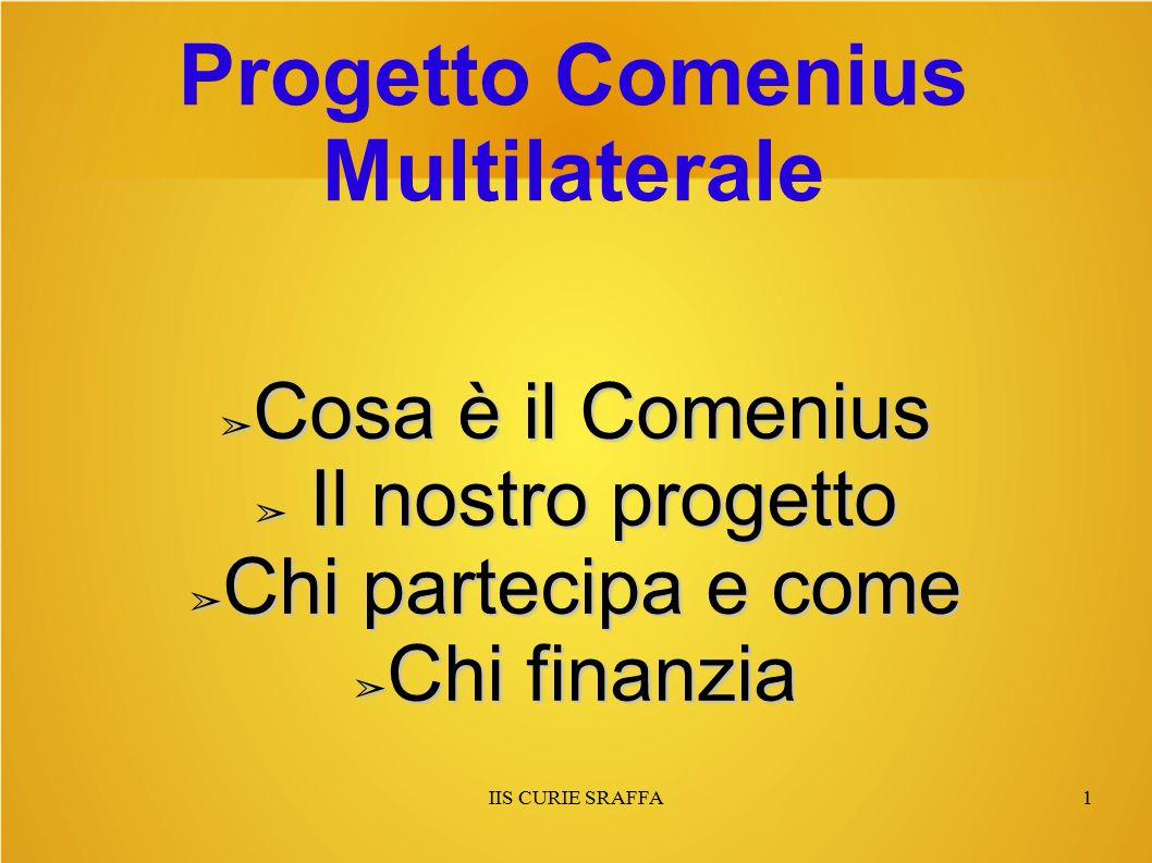IIS CURIE SRAFFA1 Progetto Comenius Multilaterale ➢ Cosa è il Comenius ➢ Il nostro progetto ➢ Chi partecipa e come ➢ Chi finanzia