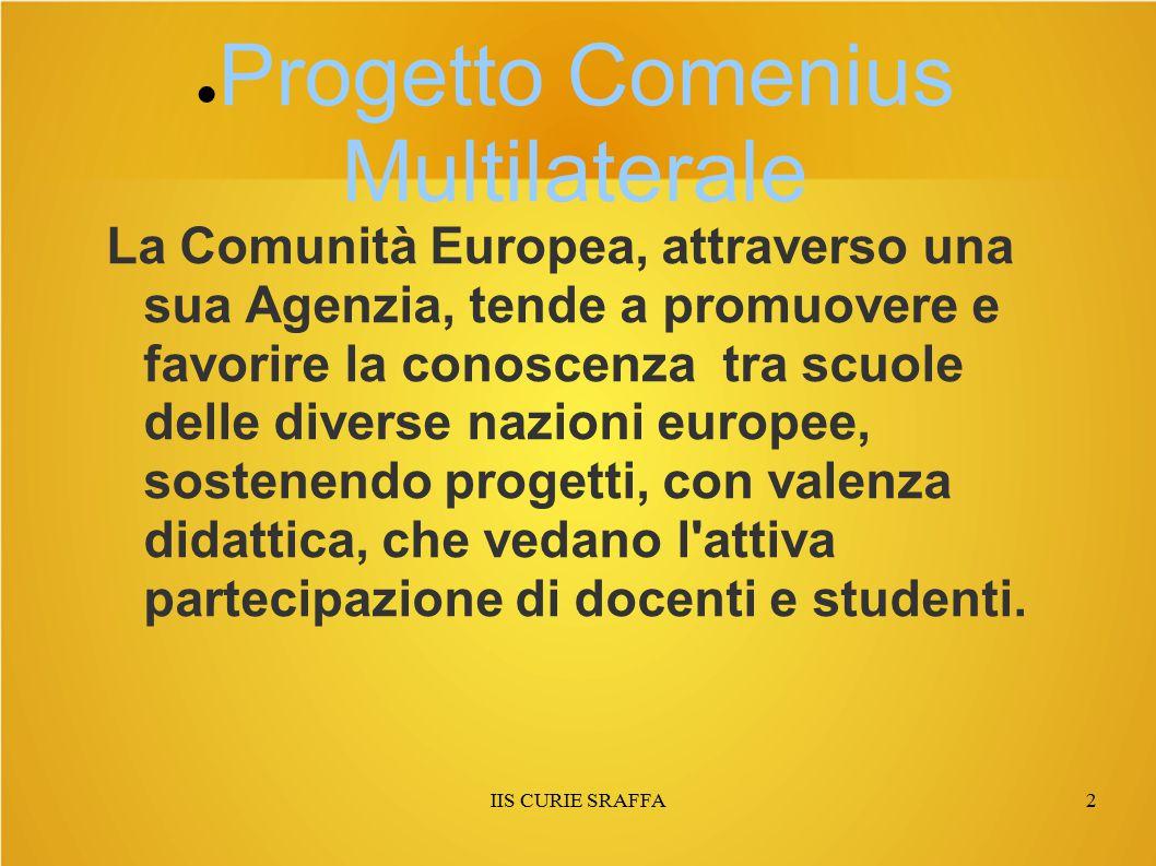 IIS CURIE SRAFFA2 ● Progetto Comenius Multilaterale La Comunità Europea, attraverso una sua Agenzia, tende a promuovere e favorire la conoscenza tra s