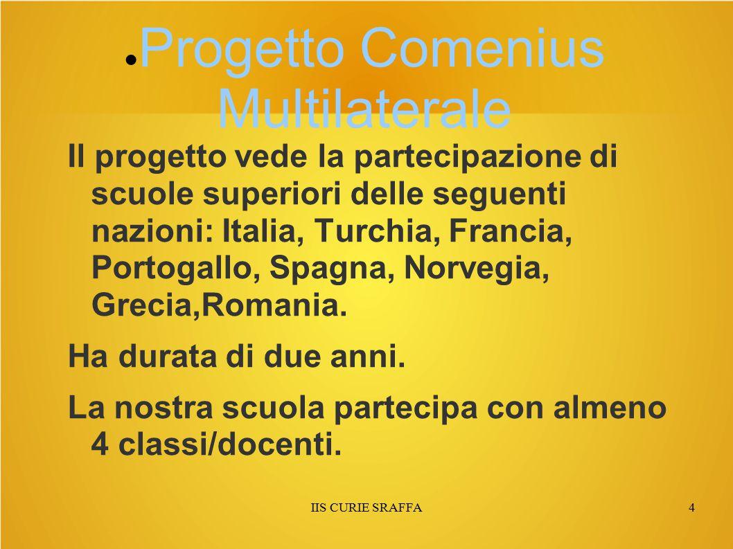 IIS CURIE SRAFFA4 ● Progetto Comenius Multilaterale Il progetto vede la partecipazione di scuole superiori delle seguenti nazioni: Italia, Turchia, Francia, Portogallo, Spagna, Norvegia, Grecia,Romania.