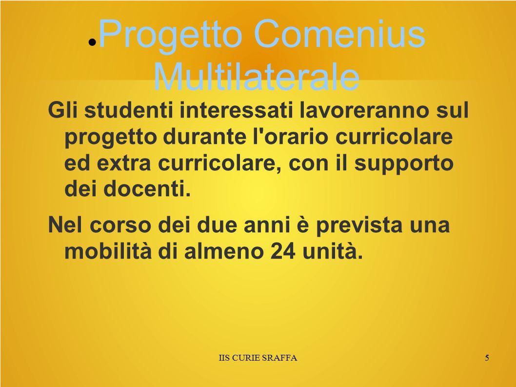 IIS CURIE SRAFFA5 ● Progetto Comenius Multilaterale Gli studenti interessati lavoreranno sul progetto durante l orario curricolare ed extra curricolare, con il supporto dei docenti.
