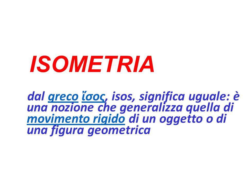 ISOMETRIA dal greco ἴσος, isos, significa uguale: è una nozione che generalizza quella di movimento rigido di un oggetto o di una figura geometricagrecoἴσος movimento rigido