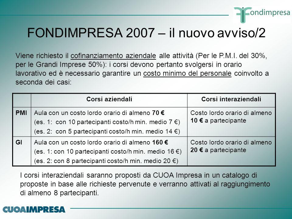 FONDIMPRESA 2007 – il nuovo avviso/2 Viene richiesto il cofinanziamento aziendale alle attività (Per le P.M.I. del 30%, per le Grandi Imprese 50%): i