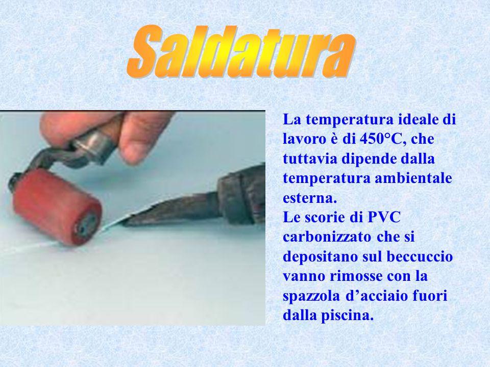 La temperatura ideale di lavoro è di 450°C, che tuttavia dipende dalla temperatura ambientale esterna. Le scorie di PVC carbonizzato che si depositano