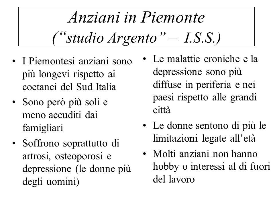 """Anziani in Piemonte ("""" studio Argento"""" – I.S.S.) I Piemontesi anziani sono più longevi rispetto ai coetanei del Sud Italia Sono però più soli e meno a"""