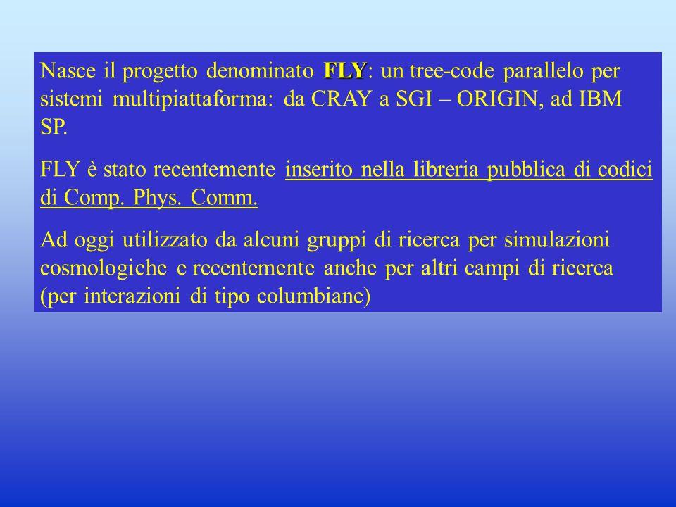 FLY Nasce il progetto denominato FLY: un tree-code parallelo per sistemi multipiattaforma: da CRAY a SGI – ORIGIN, ad IBM SP.
