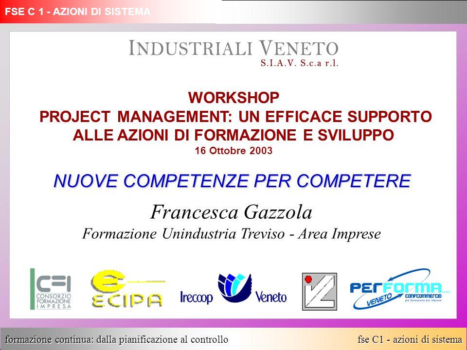fse C1 - azioni di sistema formazione continua: dalla pianificazione al controllo NUOVE COMPETENZE PER COMPETERE Francesca Gazzola Formazione Unindust