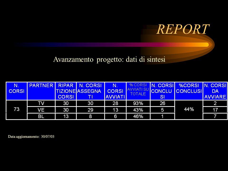 REPORT Data aggiornamento: 30/07/03 Avanzamento progetto: dati di sintesi