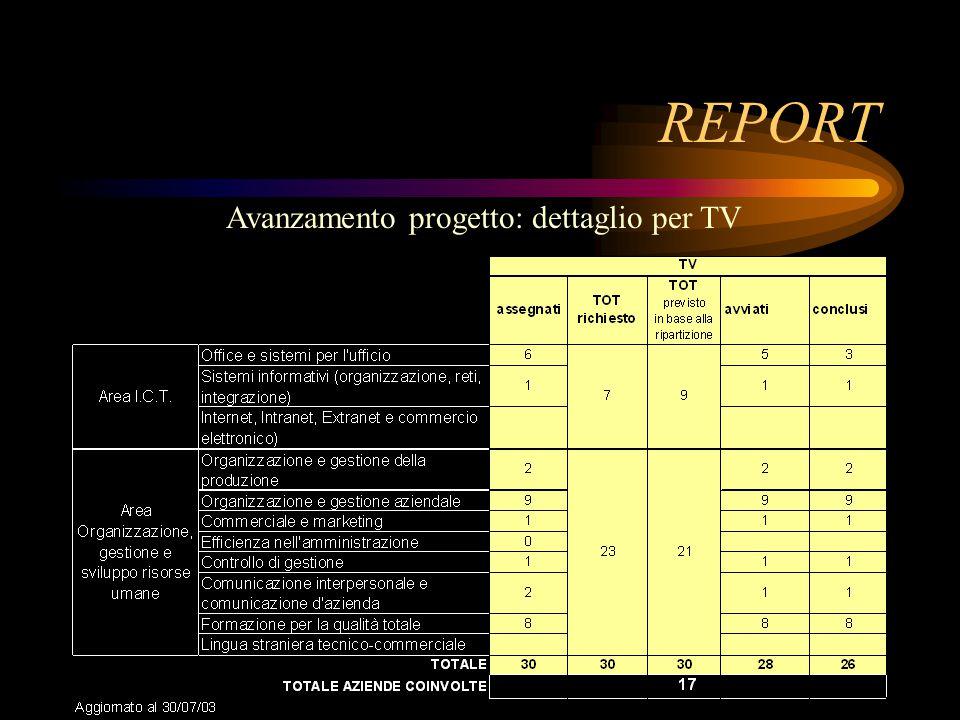 REPORT Avanzamento progetto: dettaglio per TV