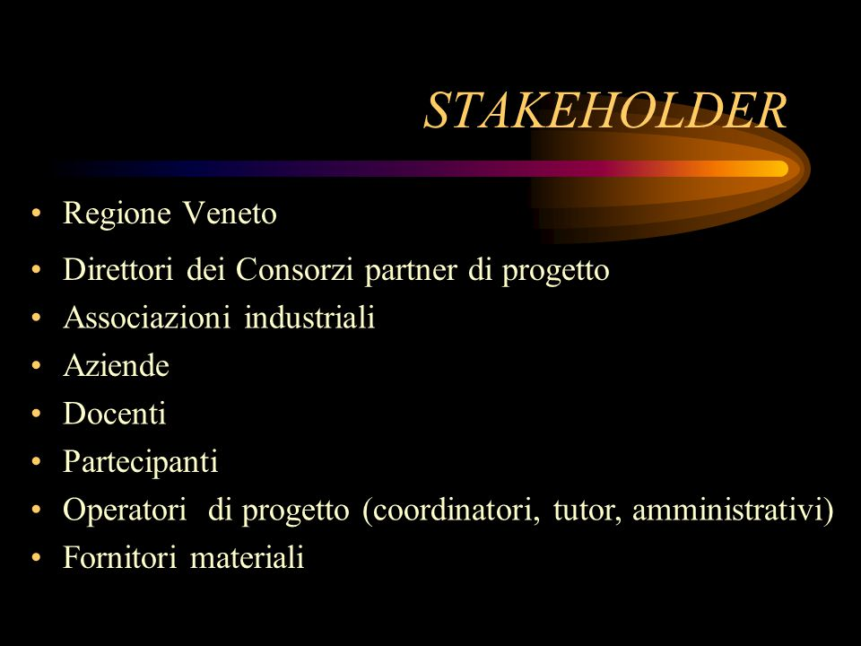 STAKEHOLDER Regione Veneto Direttori dei Consorzi partner di progetto Associazioni industriali Aziende Docenti Partecipanti Operatori di progetto (coordinatori, tutor, amministrativi) Fornitori materiali